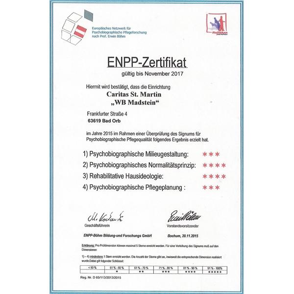 Zertifizierung und Pflegenote - Caritas Altenpflegeheim St. Martin